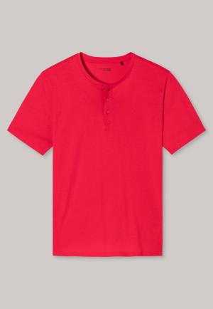Chemise à boutons et manches courtes en jersey rouge clair - Mix + Relax