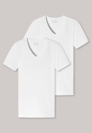 Shirts korte mouwen 2-pack biologisch katoen diepe V-hals wit - 95/5