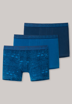 Shorts 3er-Pack Organic Cotton dunkelblau/ blau/ nachtblau geringelt - 95/5