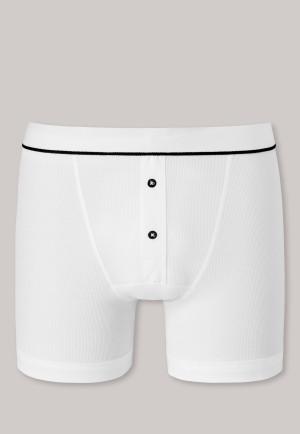 Boxer briefs double rib organic cotton white - Retro Rib