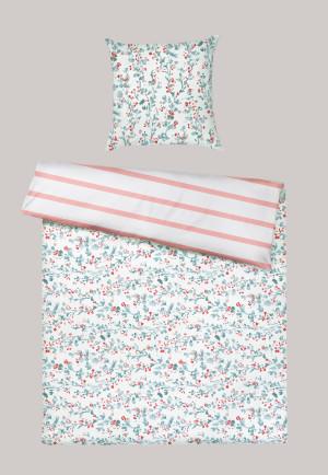 Parure de lit réversible 2 pièces satin fleurs rayures multicolores - SCHIESSER HOME