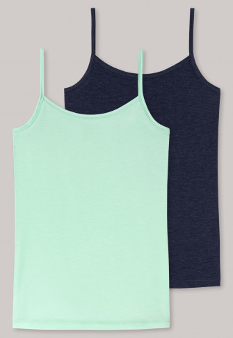 Spaghetti strap tops 2-pack dark blue/mint - Personal Fit
