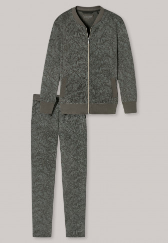 Anzug lang 2-teilig Frottee Allover-Print oliv - Sleep & Lounge