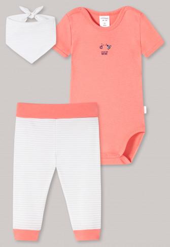 Baby Set 3-teilig Feinripp Organic Cotton Kurzarmbody Hose Halstuch Käfer weiß/koralle - Natural Love
