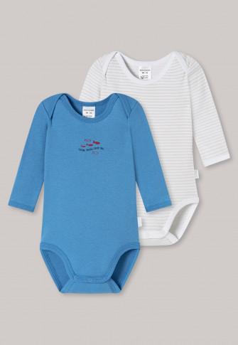 Babybodys langarm 2er-Pack Feinripp Organic Cotton Ringel Fische blau/weiß - Natural Love