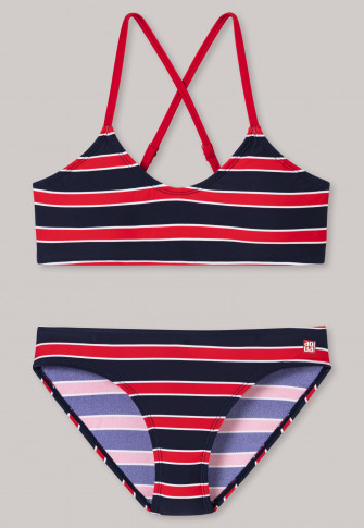 Bustier bikini tricot SPF40+ strepen rood - Nautical Chica
