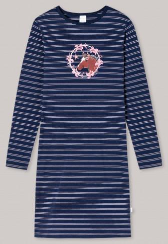 Chemise de nuit manches longues coton bio rayures cheval fleurs bleu foncé - Horse World