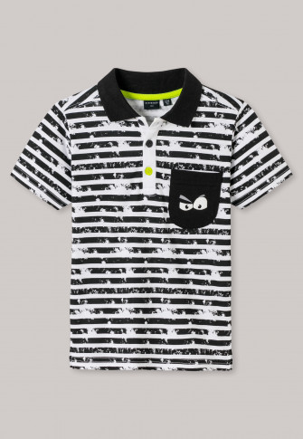 free shipping 80af5 81dad Poloshirt Jersey Ringel Used-Look schwarz-weiß - Monster