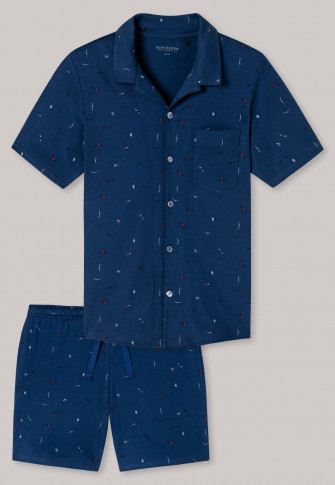 Pajama short fine interlock button placket admiral pattern - selected! premium inspiration