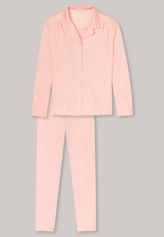 Pyjama lang Interlock Knopfleiste rosa - Comfort Fit