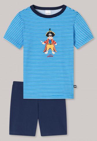 Schlafanzug kurz Organic Cotton Ringel Pirat blau - Capt´n Sharky