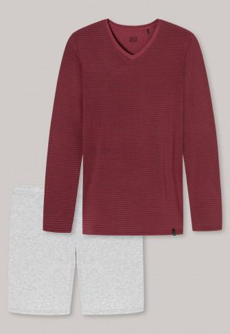 Pajamas short V-neck stripes burgundy – Long Life Soft