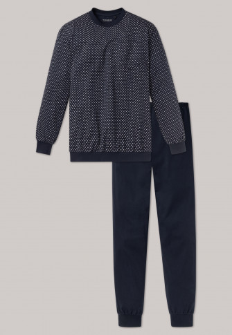 Long pajamas with cuffs dark blue patterned - Dark Sapphire