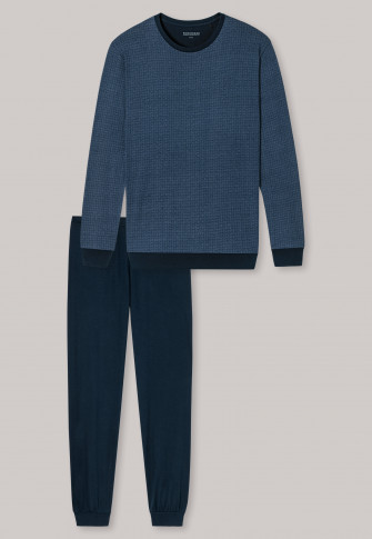 Long pajamas with cuffs, light blue patterned - Essentials