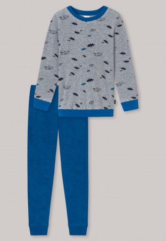 Pyjama long éponge coton bio bords-côtes chauves-souris gris chiné - Council Henry