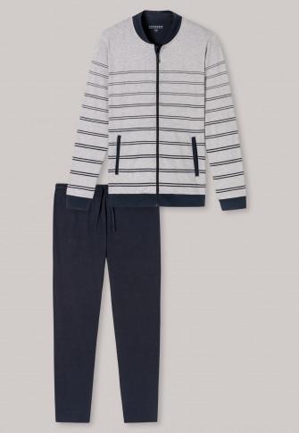 Schlafanzug lang Interlock Reißverschluss Ringel grau-meliert - Sleep + Lounge