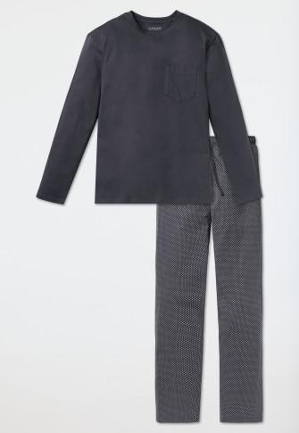 Long jersey pajamas gray - Ebony