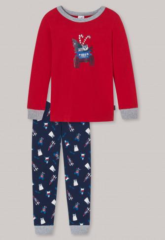 Pajamas long organic cotton cuffs polar bear truck red - Boys World