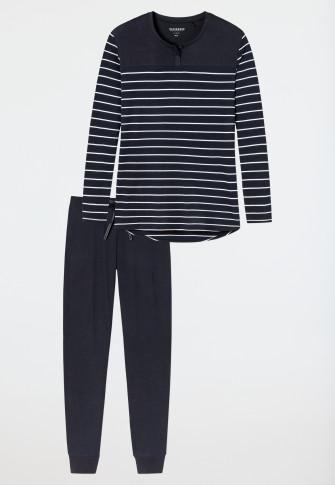 Schlafanzug lang Ringel Bündchen nachtblau - Original Classics
