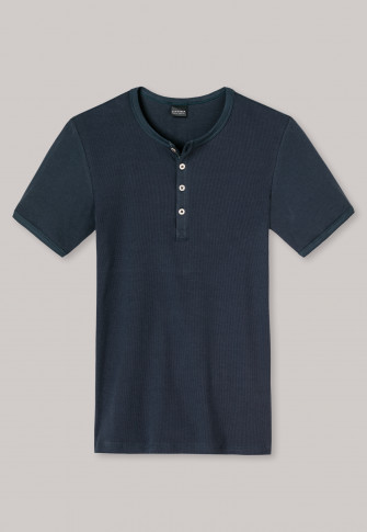 Short-sleeved shirt with button placket, double rib, blue - Outdoorsman