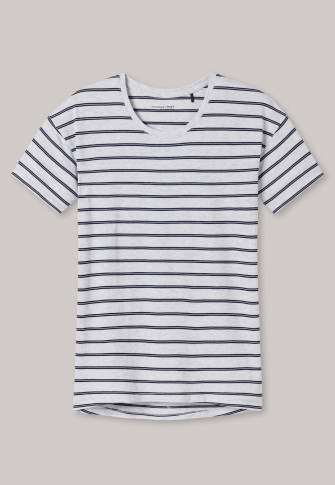 Shirt kurzarm Modal Ringel grau meliert-nachtblau - Mix+Relax