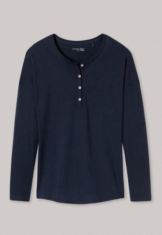 Long-sleeved shirt button placket midnight blue Mix & Relax