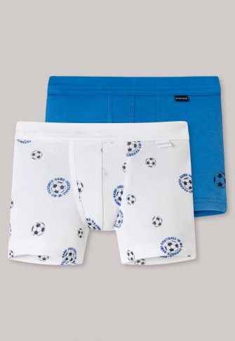 Shorts 2-pack fijnrib organic cotton zachte lintsluiting voetbal blauw/wit - fijnrib multipacks