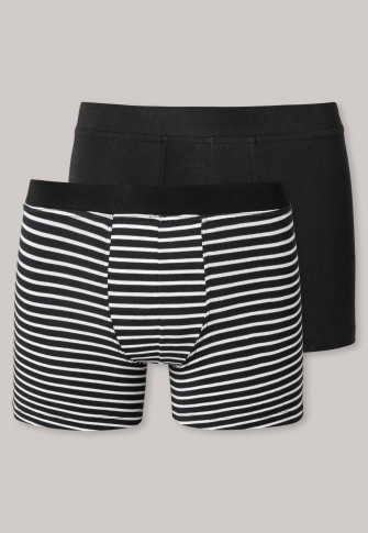 Shorts 2-pack organic cotton zwart/gestreept - 95/5