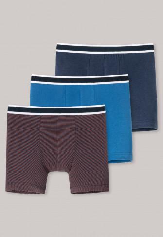 Lot de trois boxers multicolore coton biologique bande élastique rayures unies - Natural Love