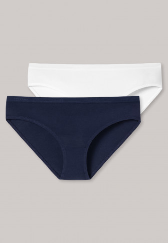 Slips 2er-Pack Organic Cotton dunkelblau/ weiß - 95/5