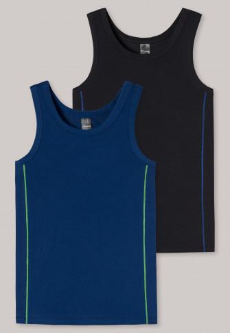 Tanktops 2-pack strepen zwart/blauw - Personal Fit Cotton