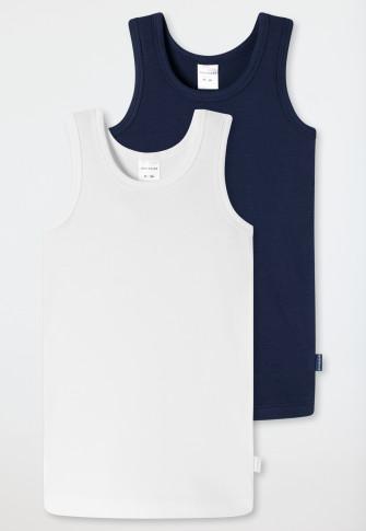 Unterhemden 2er-Pack weiß/dunkelblau - 95/5