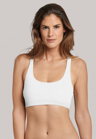 Bustier mit Cups Doppelrippe Racerback weiß - Personal Fit Rippe