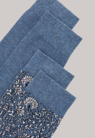 Damessokken 2-pack stay fresh bloemen blauwmelange - Bluebird