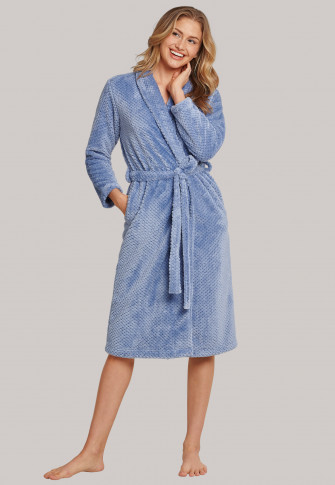Fleece coat shawl collar denim blue - selected! premium inspiration