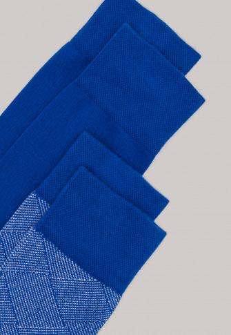 Herrensocken 2er-Pack stay fresh Rautenmuster indigo - Bluebird