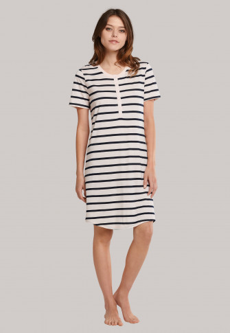 Sleep shirt short-sleeved button placket stripes pale pink - Essentials