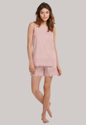 Schlafanzug kurz Modal Lochstickerei zartrosa - Organic Cotton