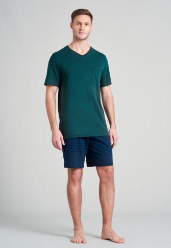 Korte pyjama van fijne interlock met V-hals en donkergroen patroon - Fine interlock