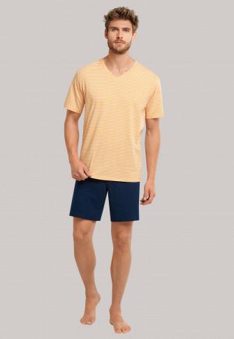 Pyjama kort V-hals strepen curry - selected! premium inspiration