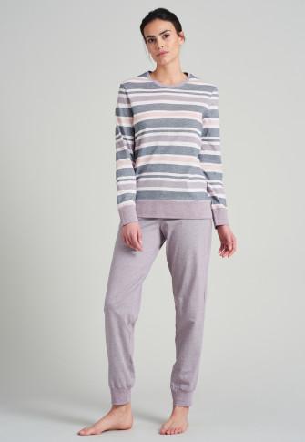 Schlafanzug lang Bündchen Ringel dunkelblau - Sportive Stripes