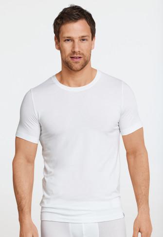 Shirt kurzarm Jersey elastisch rundhals weiß - Long Life Soft