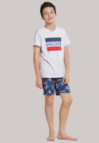 Tee-shirt manches courtes jersey encolure en V gris chiné imprimé - Mix+Relax