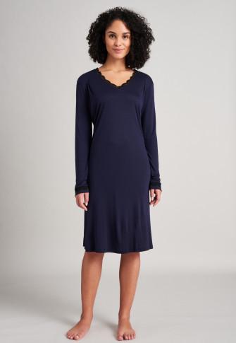 Sleep shirt long modal lace V-neck dark blue - selected! premium