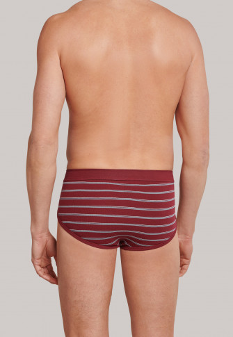 Sports briefs fine rib double pack with fly-front burgundy striped - Original Classics