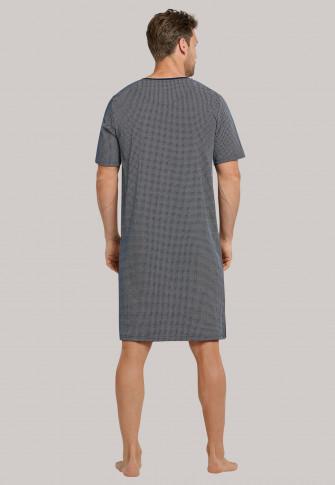 Nachthemd korte mouwen fijne interlock V-hals nachtblauw met patroon - Timeless