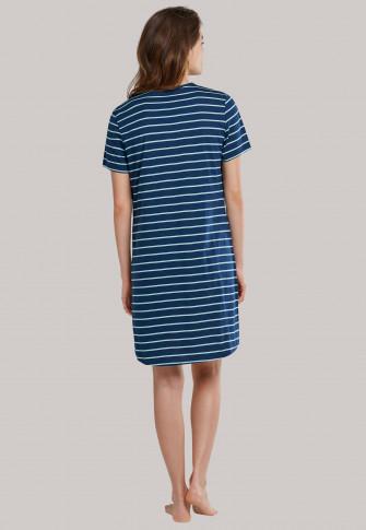 Chemise de nuit manches courtes rayures bleu/bleu clair - selected! premium
