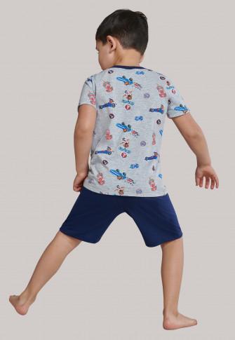 Schlafanzug kurz Organic Cotton Affen Rennwagen grau-meliert/dunkelblau - Boys World