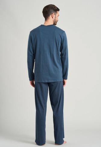 Long pajamas V-neck denim blue checkered - Comfort Fit