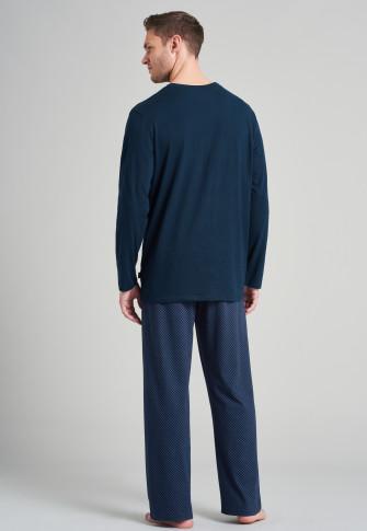Schlafanzug lang V-Ausschnitt royal gemustert - Fashion Nightwear
